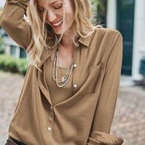 J Jill Relaxed Shirtail Button Blouse Camel XS Sm